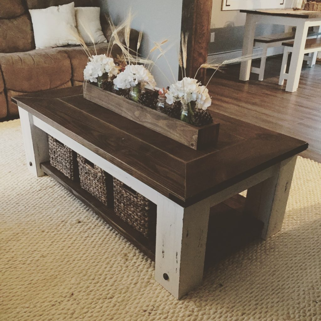 Square Coffee Table Diy: Chunky Farmhouse Coffee Table
