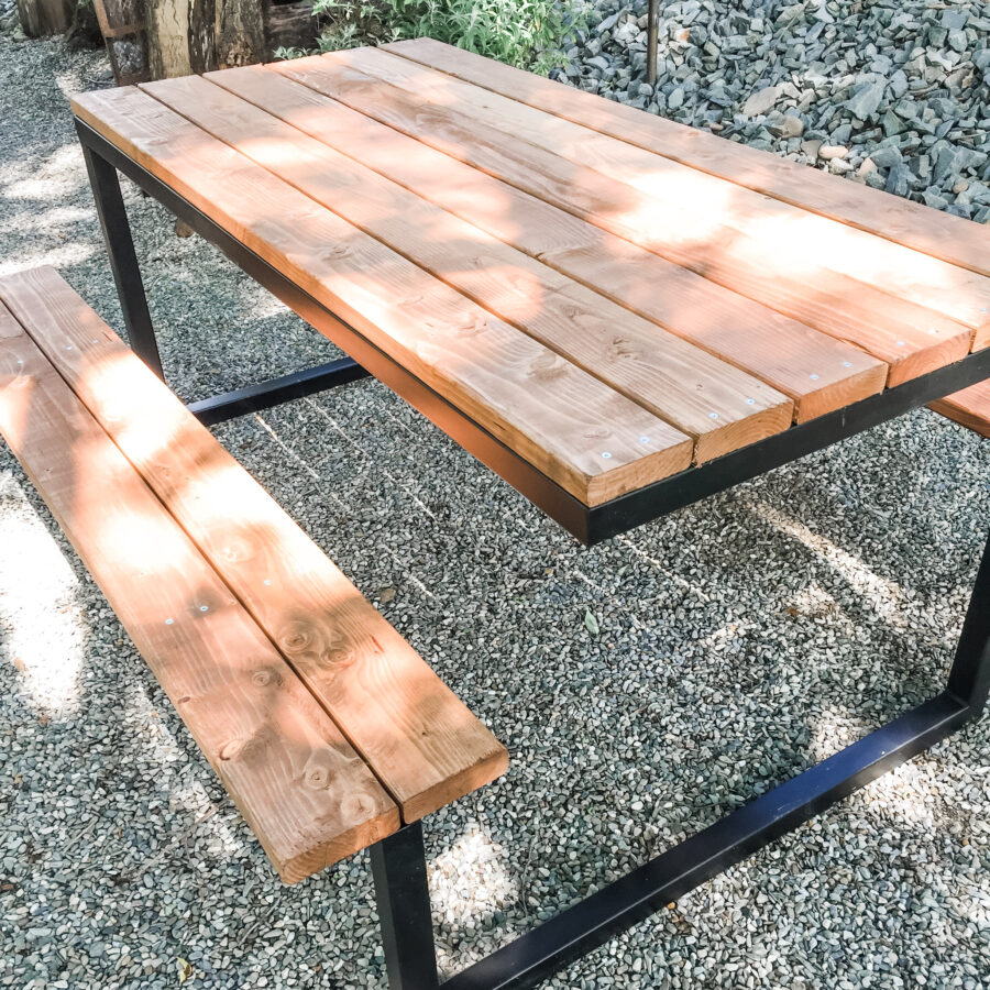 Steel and wood picnic table