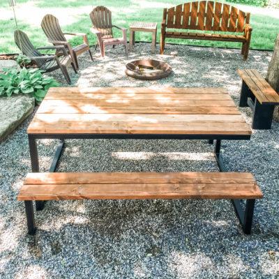Black square tube picnic table