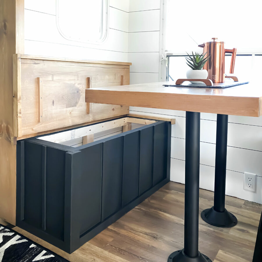 DIY RV Dinette Storage Bench