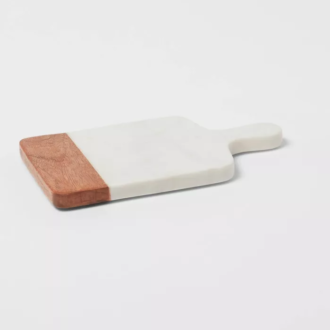 """10""""x6"""" Marble & Wood Serving Board"""